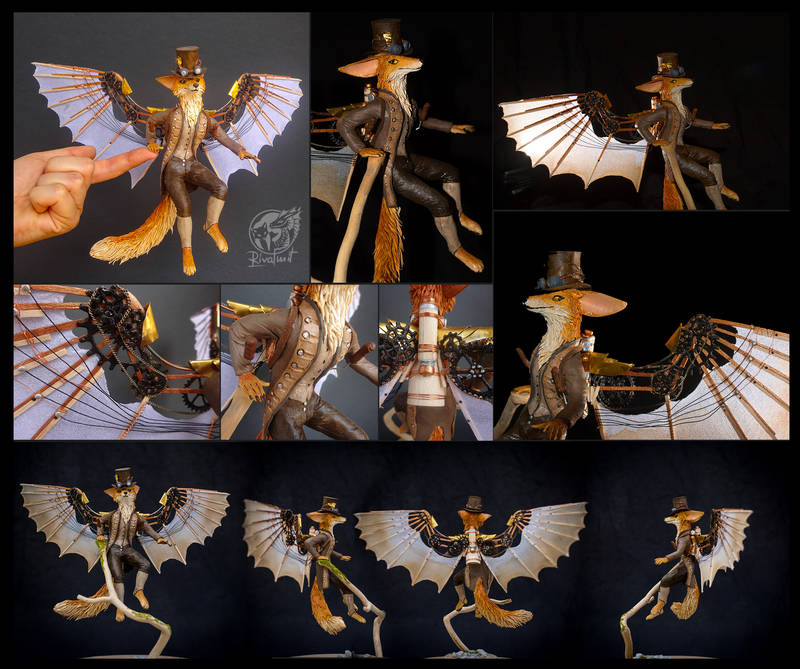 Arcanum - A dream of wingless: Foxes with Flying Machines sculpture companion fox anthro anthropomorphic balaning steampunk