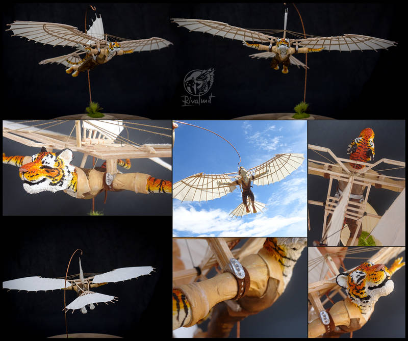 Arcanum - Soar on the memorys lost to time sculpture art tiger machine wings plane davinci
