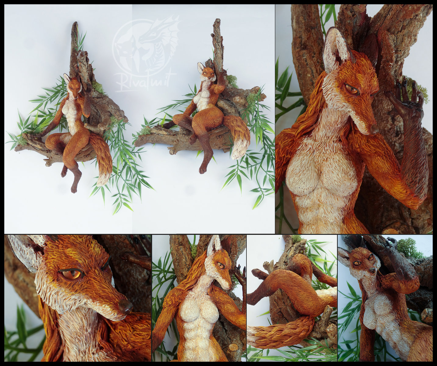 fox anthro anthropomorphic art sculpture female tree Fox on the branch