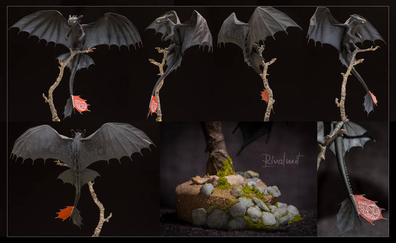 toothless httyd dragon sculpture companion nightfury how to train your dragon Sculptures Toothless Balanced Sculpture Sculptures
