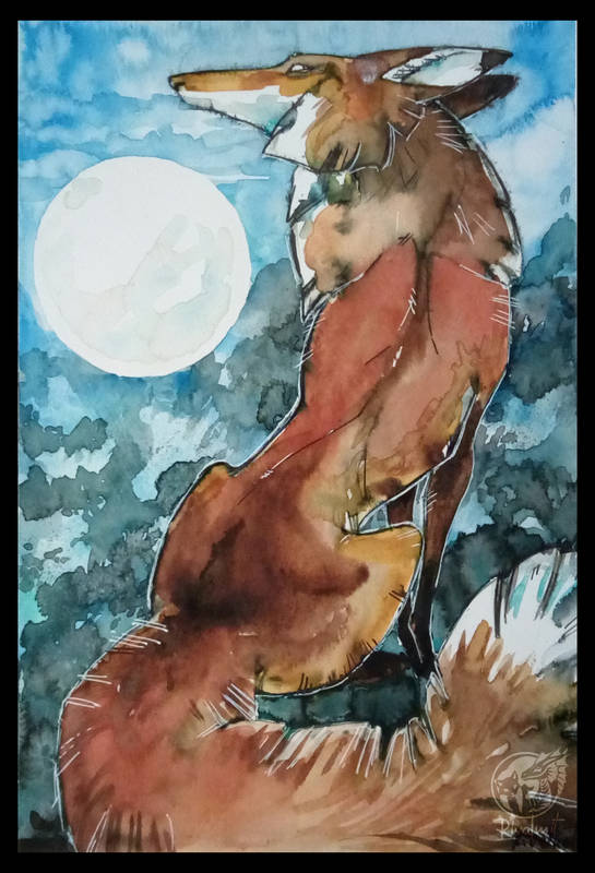 drawing fox watercolor traditional art traditionalart Drawings fox and the moon Drawings