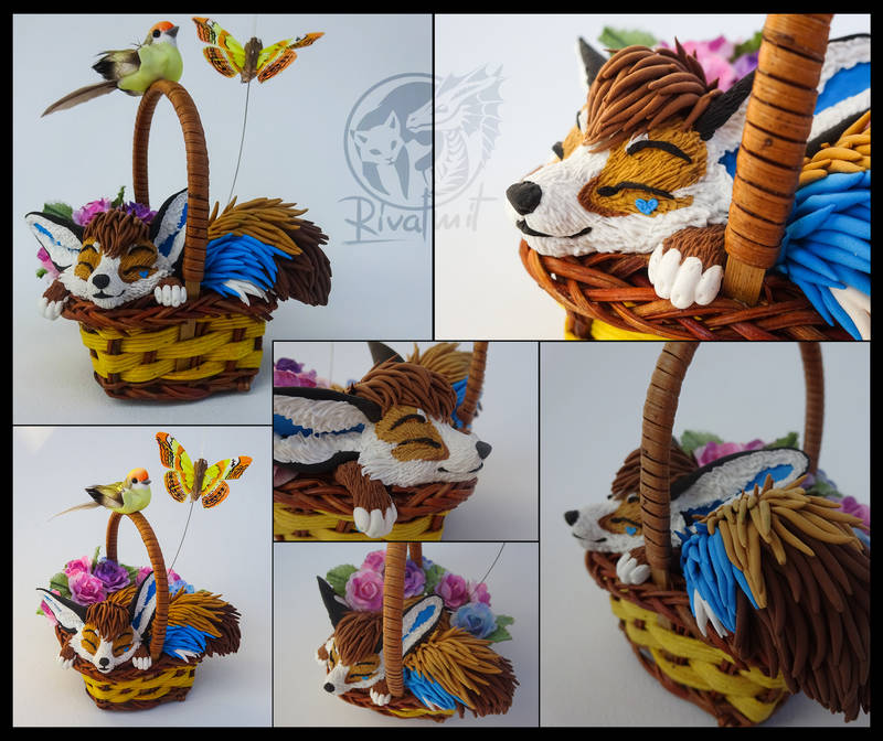 sculpture fenec fox basket flower miniature Sculptures Kashmere trade II  @Kashmere_Art Sculptures