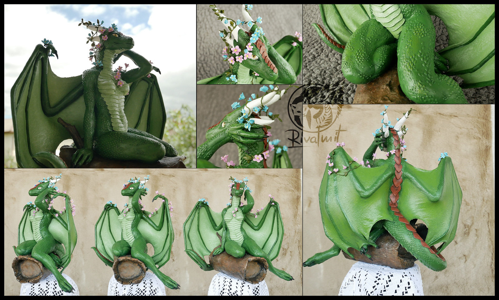 sculpture commission traditional dragon anthropomorphic Flower dragoness