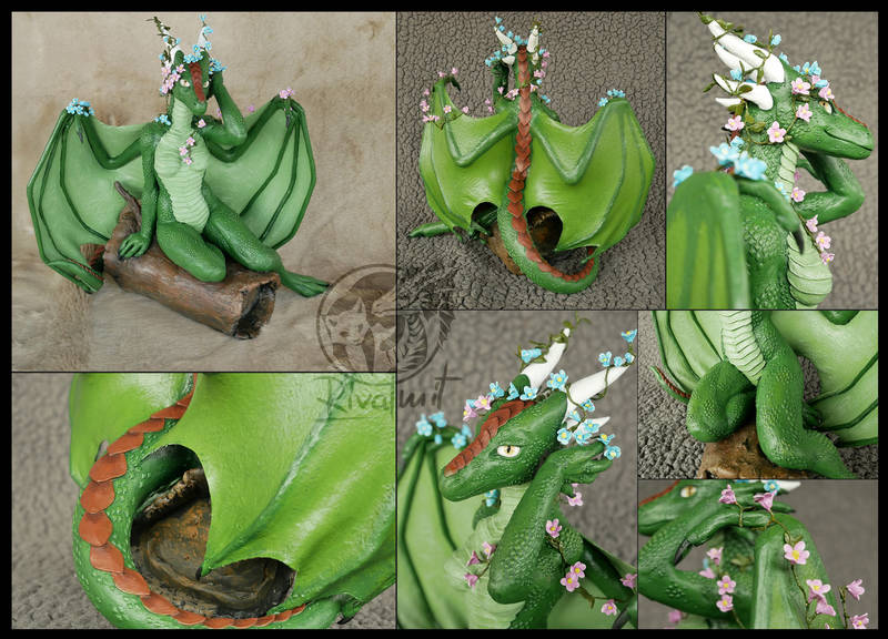 sculpture commission traditional dragon anthropomorphic Sculptures Flower dragoness Sculptures