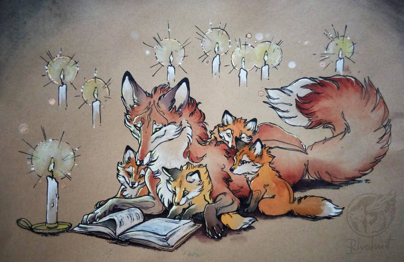 drawing watercolor fox baby family Drawings