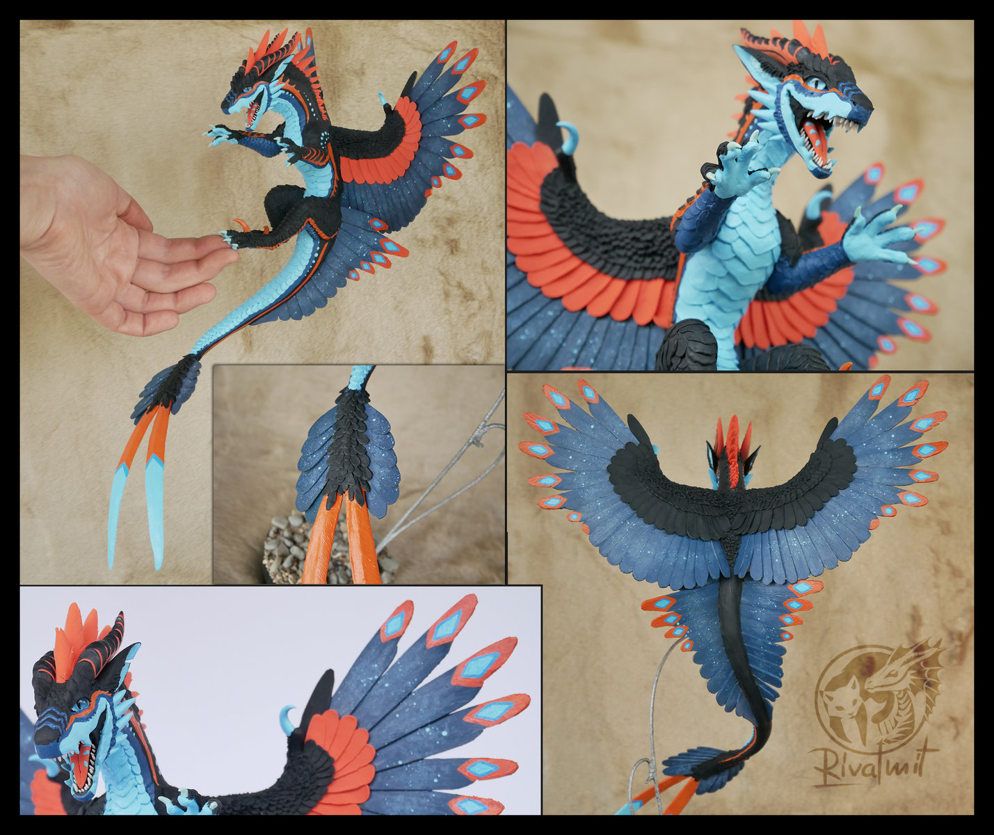 sculpture companion dragon feather balaning art traditional Sykress commissioned Companion