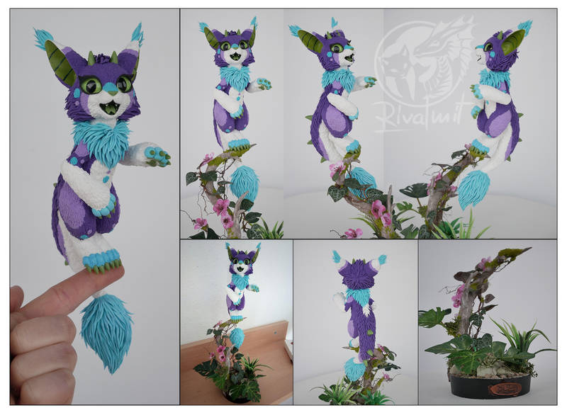 Commission Cleya cat dragon companion sculpture