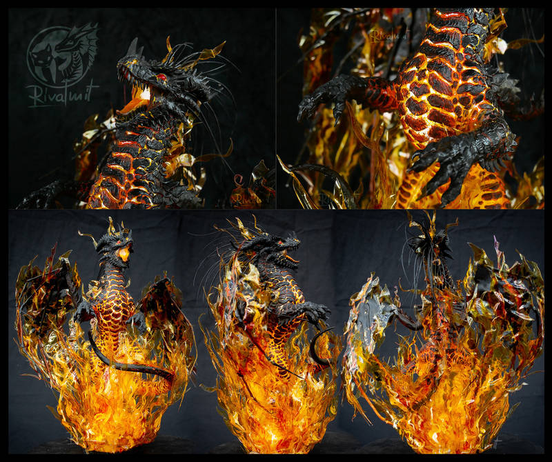 lava fire dragon ef25 eurofurence art furry Sculptures Kreyati dife - Lava Dragon Sculptures
