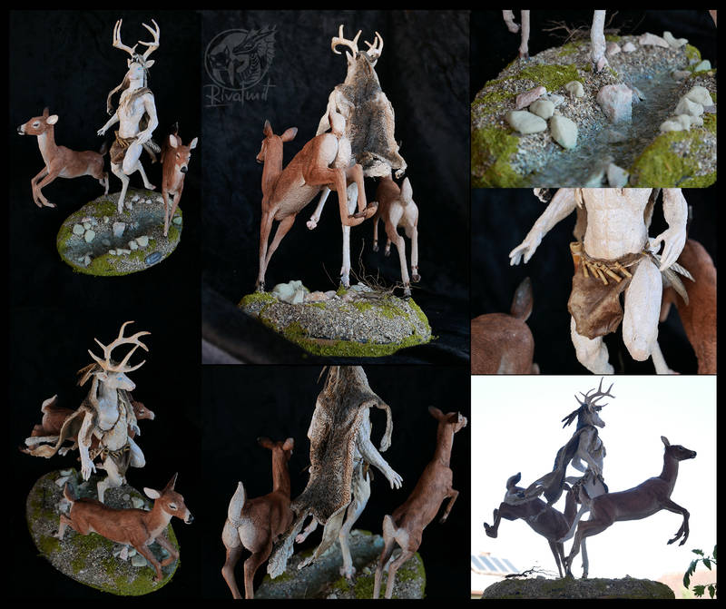 sculpture art traditional deer mythology anthro anthropomorphic ef25 Sculptures Spirit Of The Forest Sculptures