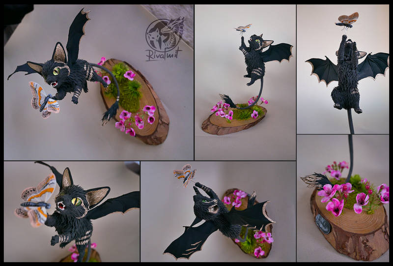 sculpture art cat felinae bat batkitty Sculptures Bat kitty #13 Butterfly Jump Sculptures