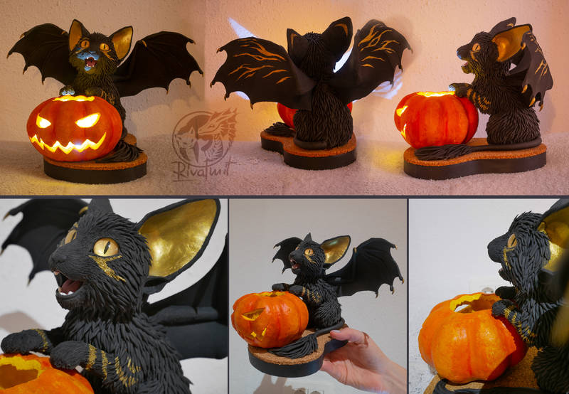 batkitty bat cat halloween pumpkin Sculptures batkitty #16 halloween Sculptures