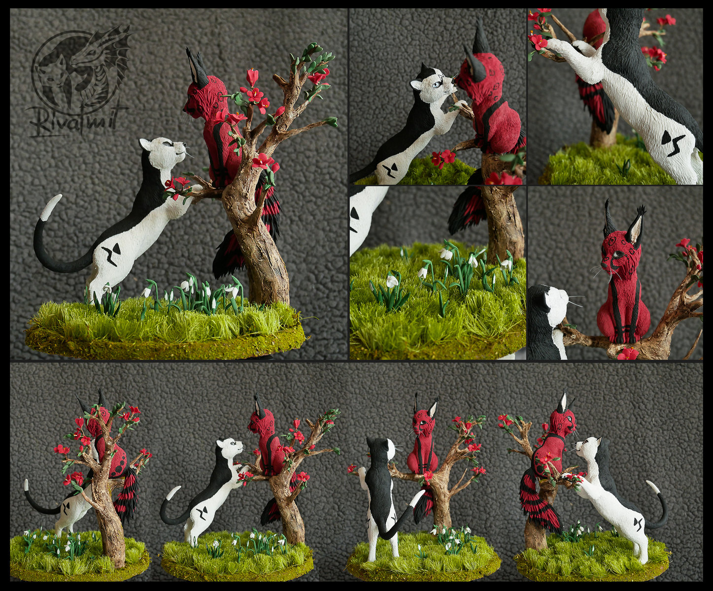 sculpture cat felinae tree companion balance Commission Itya & Henry
