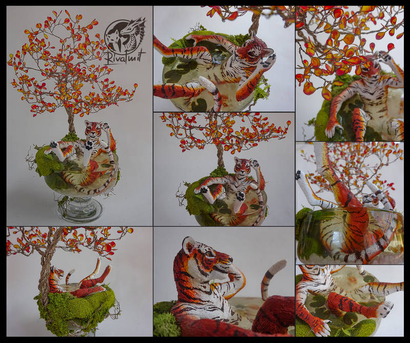sculpture tiger tree pond glass ef Sculptures An Oasis in Summer Sculptures