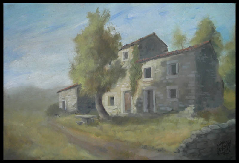 painting acrylic house landscape istra Sculptures Nostalgia Sculptures