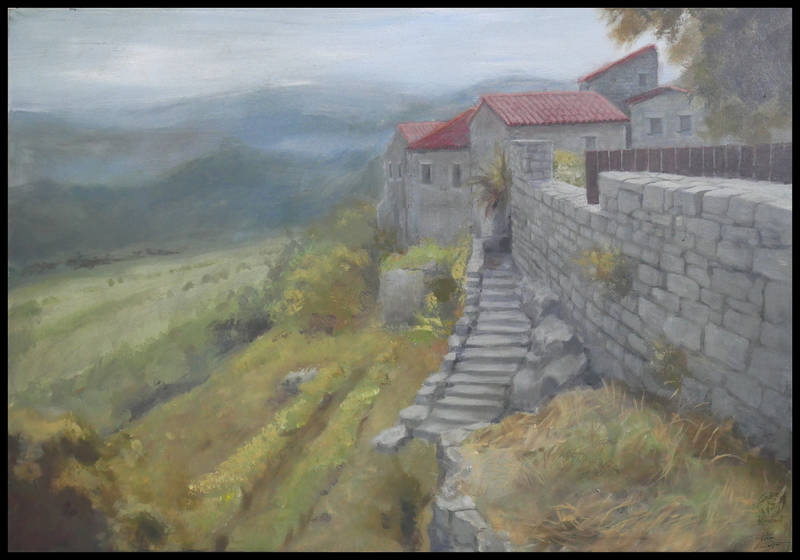 painting acrylic village stone istra Paintings Buzet Paintings