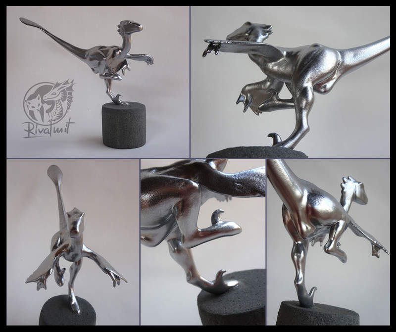 sculpture raptor dinosaur trophy Sculptures Silver hunter Sculptures