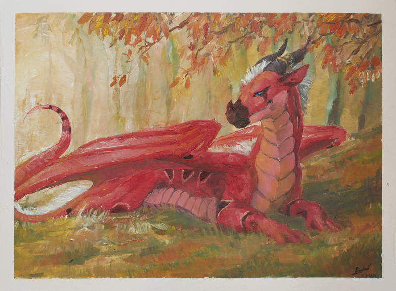 dragon forest painting speedpainting acrylic commission Paintings speedpainting commission Solus Paintings