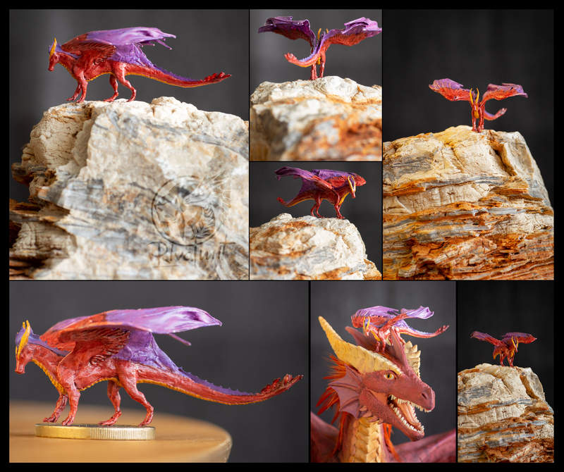 sculpture dragon miniature Sculptures Tiny Akulatraxas dragon Sculptures