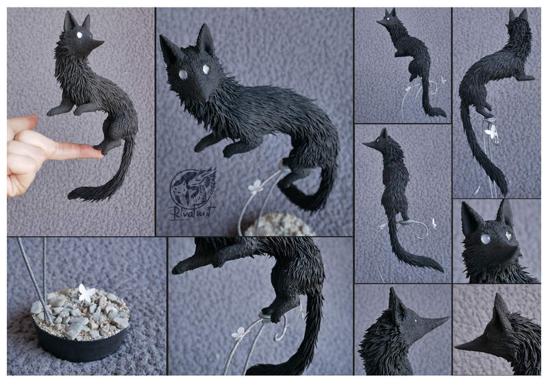 sculpture wolf companion balance Sculptures Black wolf companion commission Sculptures