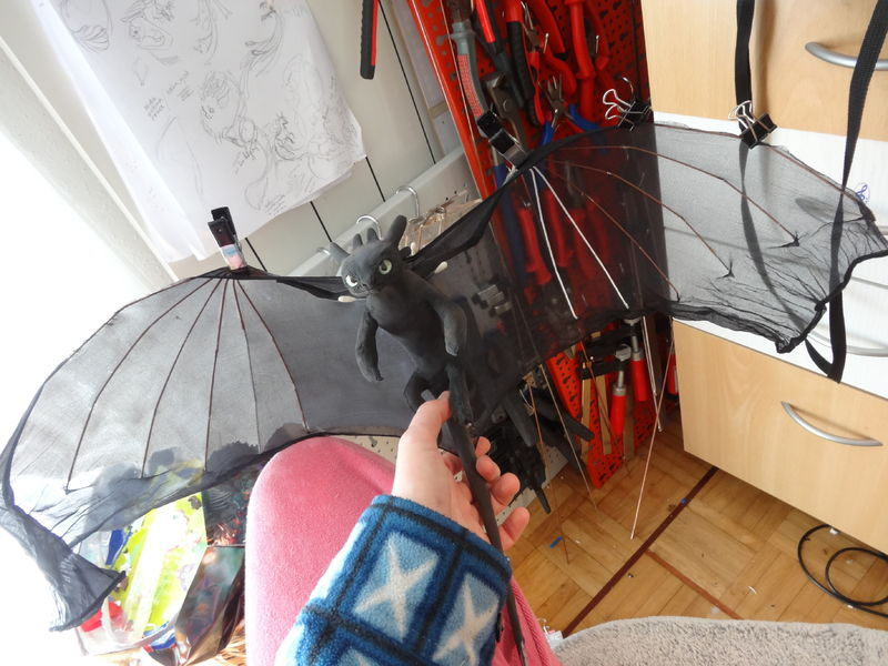 sculpture artwork toothless nightfury dreamworks companion balanced eurofurence ef23 httyd streatching the wings