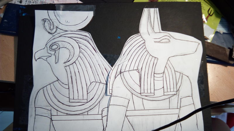 painting  commission artwork scratchboard egypt anubis amon horus eurofurence 23 Paper sketches of Gods