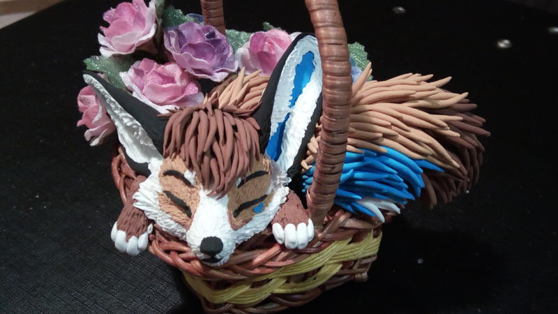 fennec fox female sculpture art tea cup Sleeping amongst the flowers