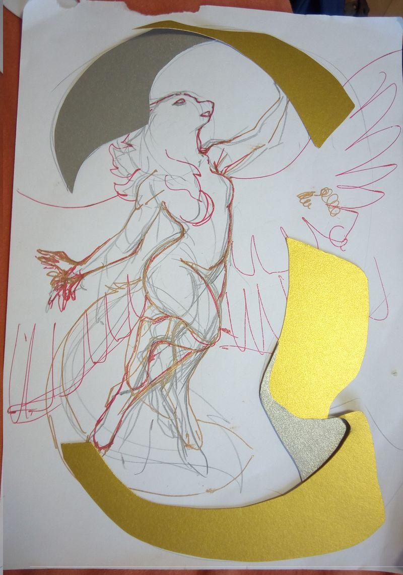 colage paper cutout wolf winged commission furry artwork eurofurence 23 Like puzzles