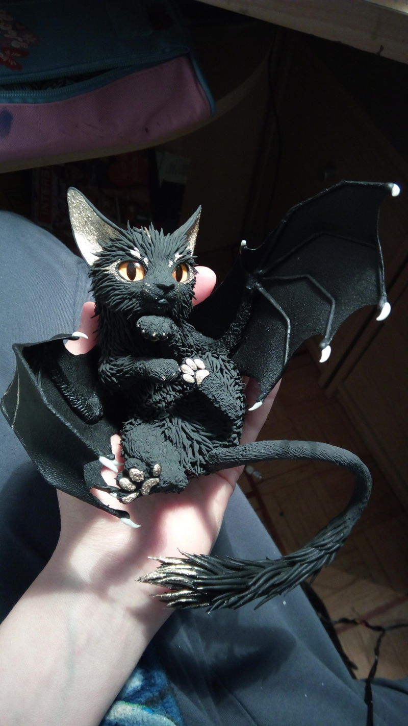 batkitty sculpture art cat bat ef24 eurofurence She's right at home in there. and from where will I drink my tea?