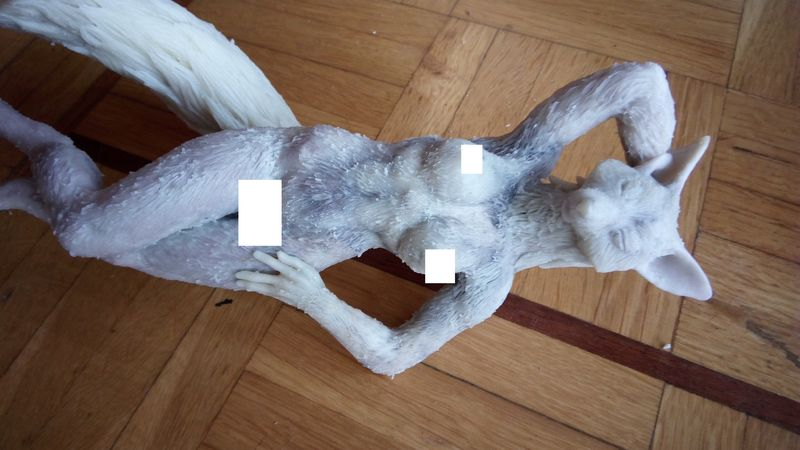 sculpture erotic fox sculpting art clay handmade EF24 Eurofurence hair and cutting the arms down to size