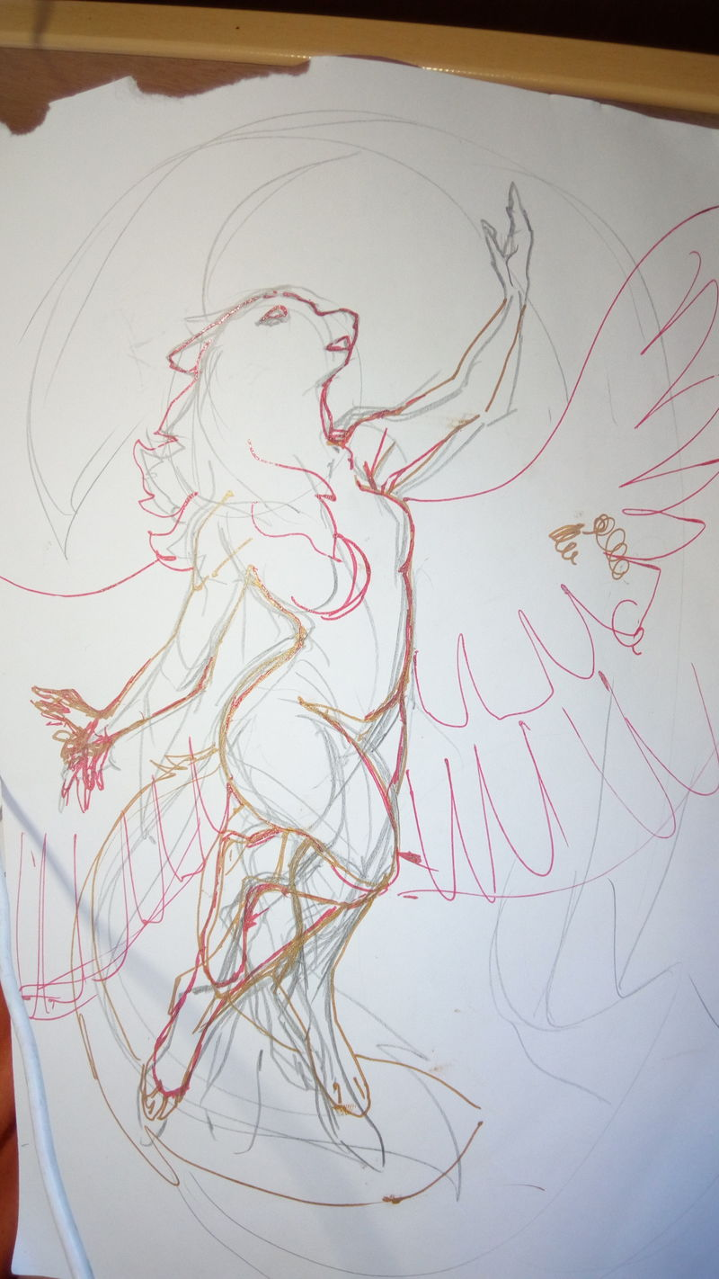colage paper cutout wolf winged commission furry artwork eurofurence 23 Sketchy mess