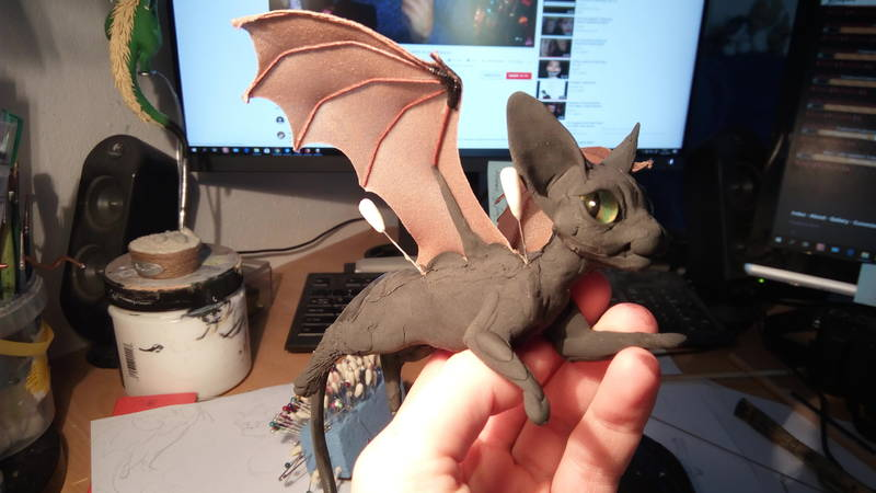 bat kitty batkitty art sculpture companion balance ef25 eurofurence Wings are always fascinating to make