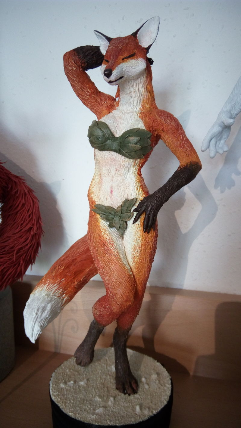 sculpture erotic fox sculpting art clay handmade EF24 Eurofurence Fox lady has a few extra dresses to chose from