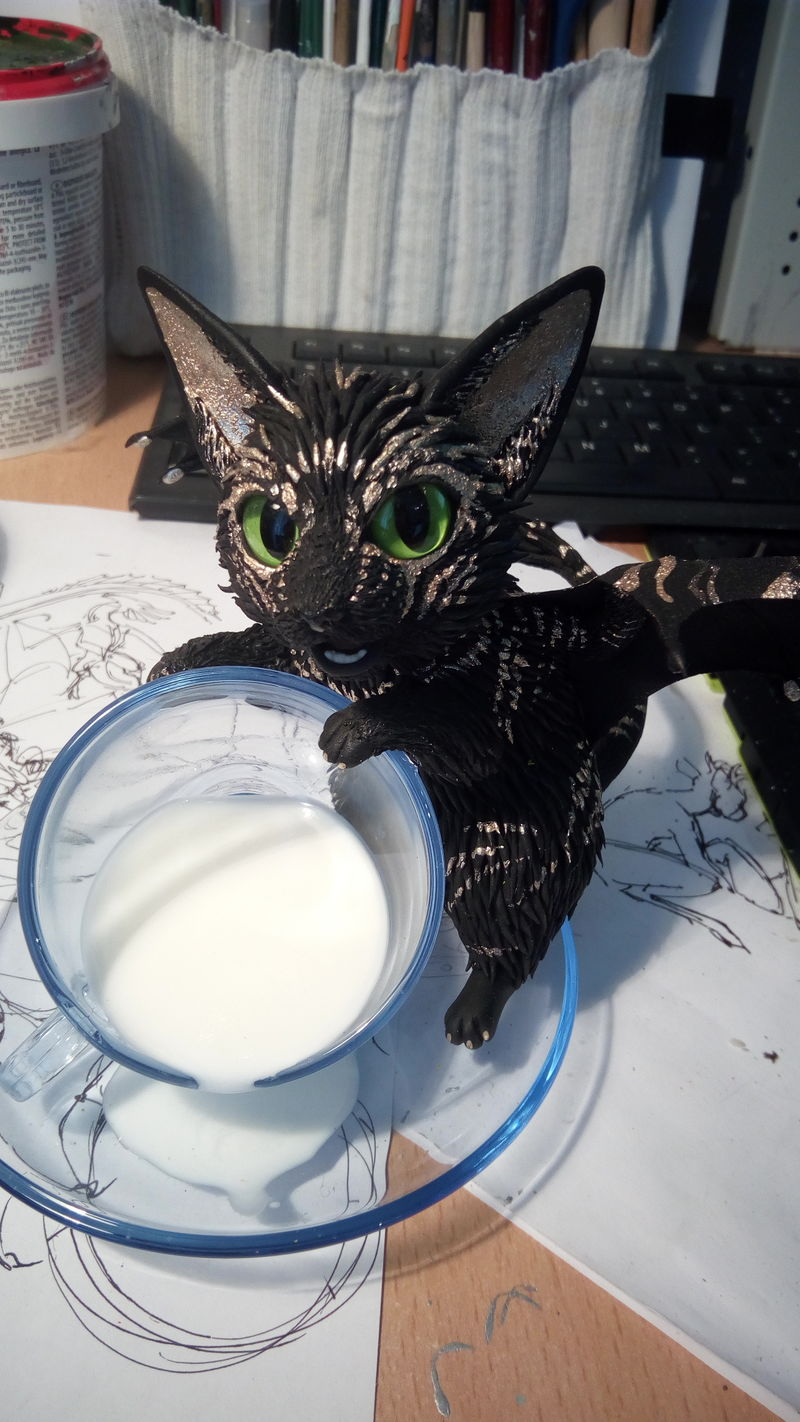 tea teacup bat kitty batkity sculpute art ef24 eurofurence Fluffy! Don't spill the milk D: