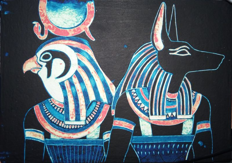 painting  commission artwork scratchboard egypt anubis amon horus eurofurence 23 And done!