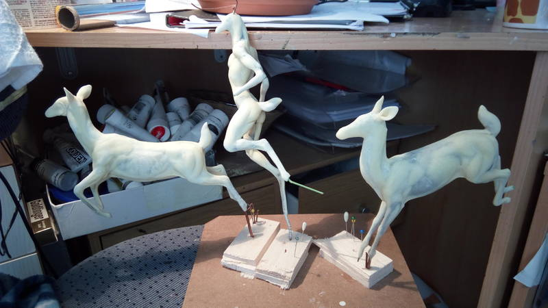 deer sculpture art anthropomorphic feral eurofurence ef25  these two get a companion to roam the earth with