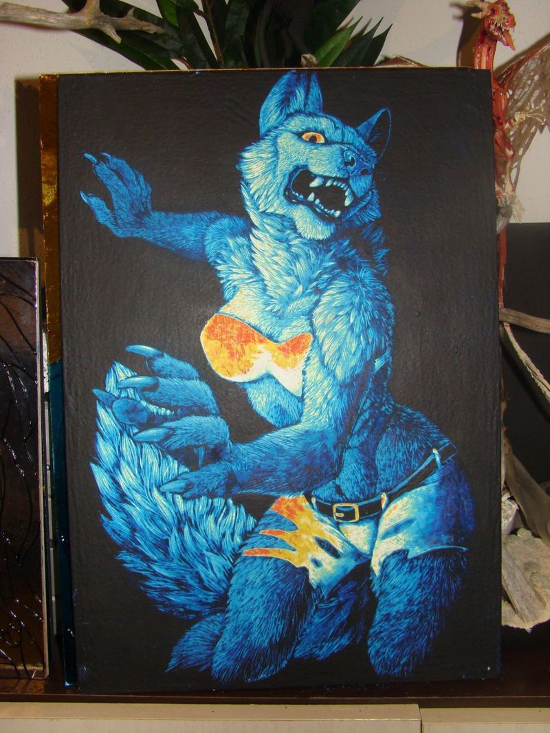 scratchboard commission artwork wolf anthropomorphic furry blue female This lady has claws!