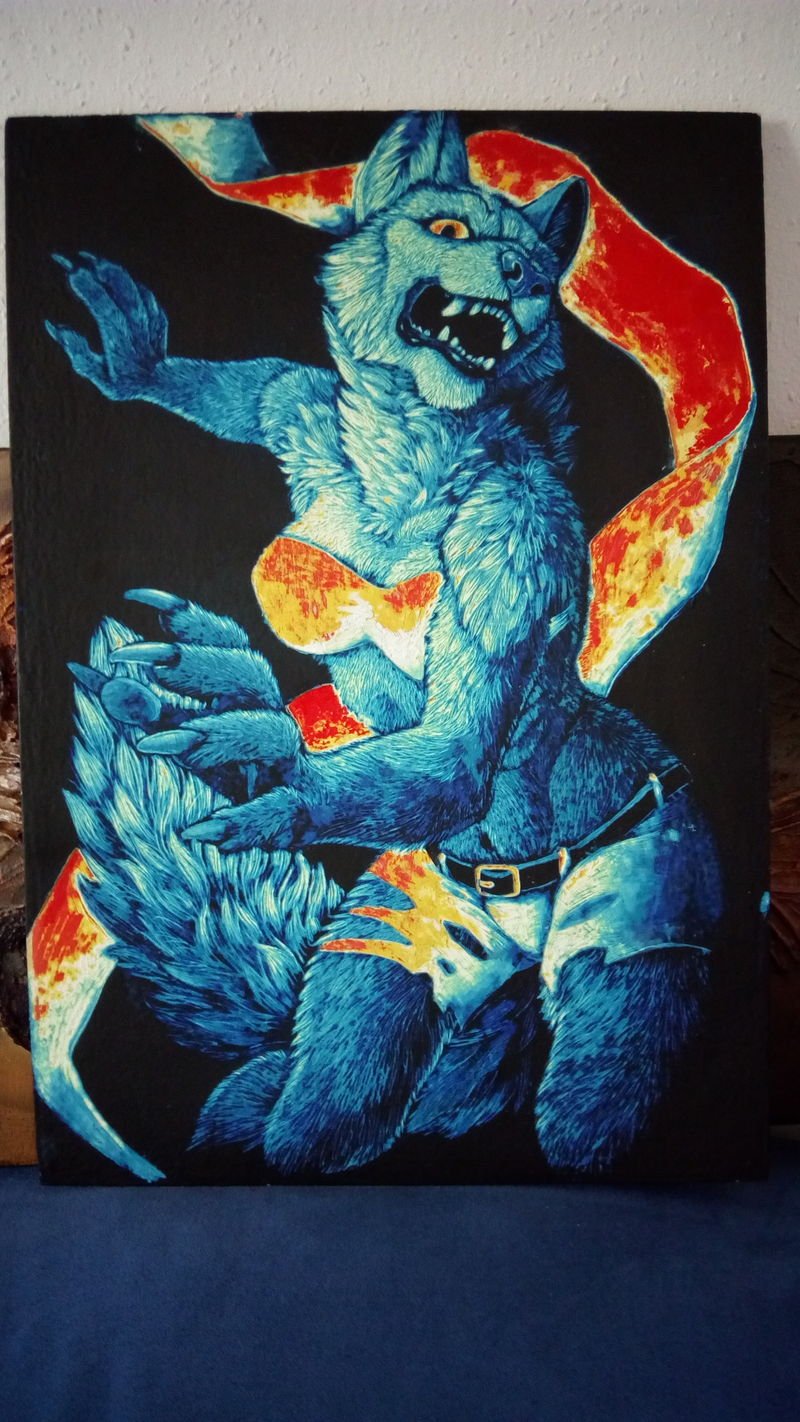 scratchboard commission artwork wolf anthropomorphic furry blue female Bit of correcting :)