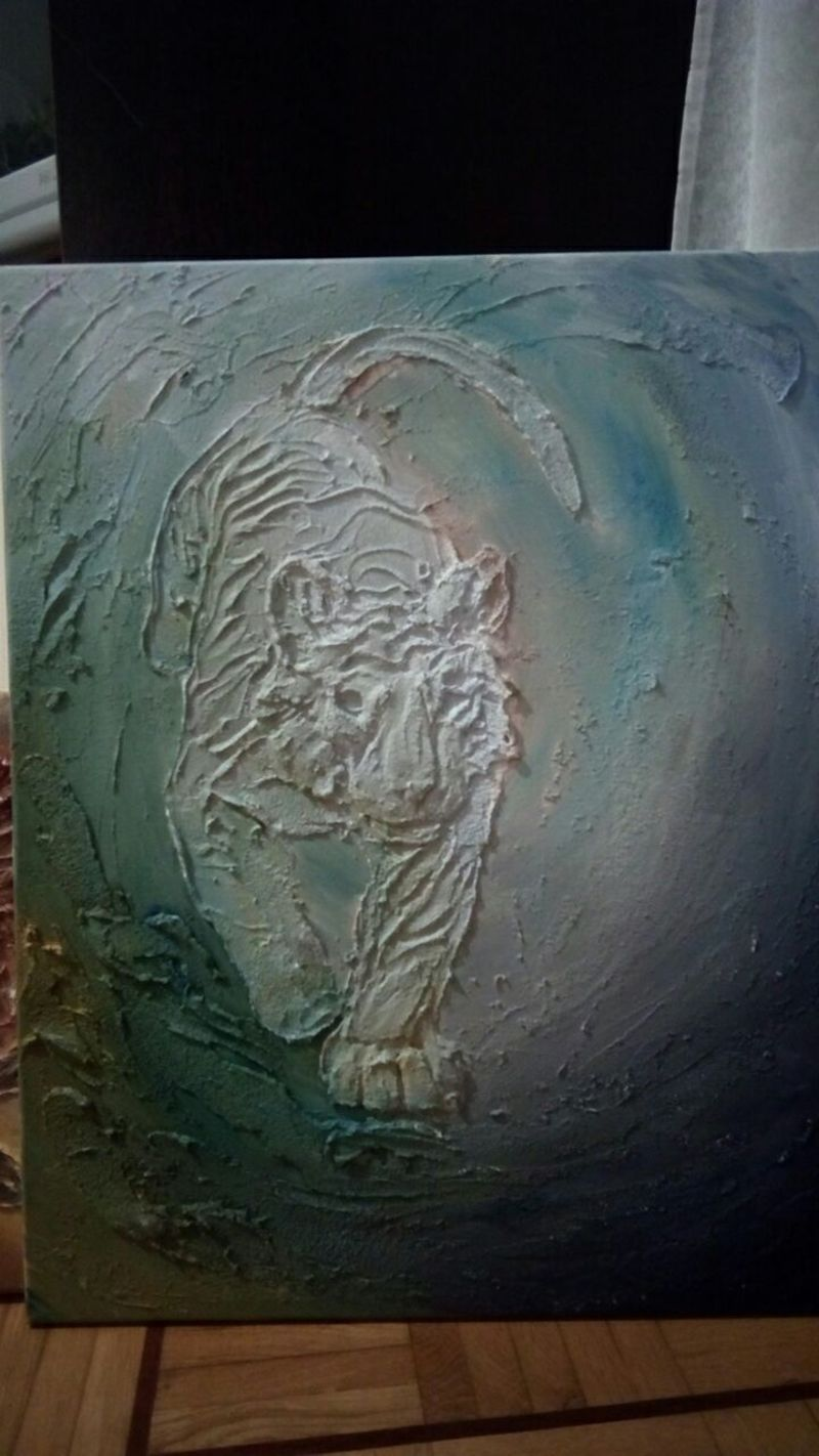 painting 3D artwork eurofurence ef23 furry tiger glow in the dark relief tiger spirit on the path