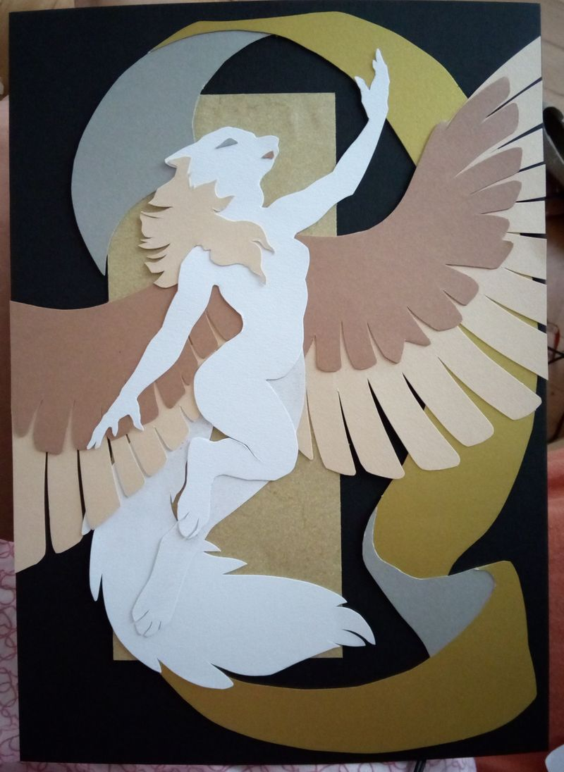 colage paper cutout wolf winged commission furry artwork eurofurence 23 Complete