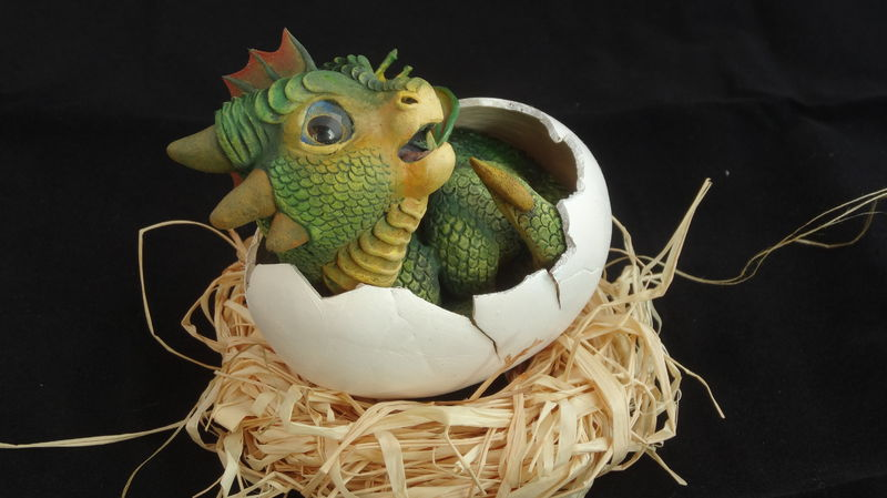 sculpture artwork baby hatched egg dragon newborn eurofurence 23 tinydragons Back in to his shell