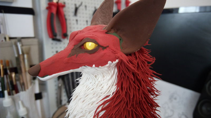 fox sculpture furry animal art ef24 eurofurence flat colors away with you!