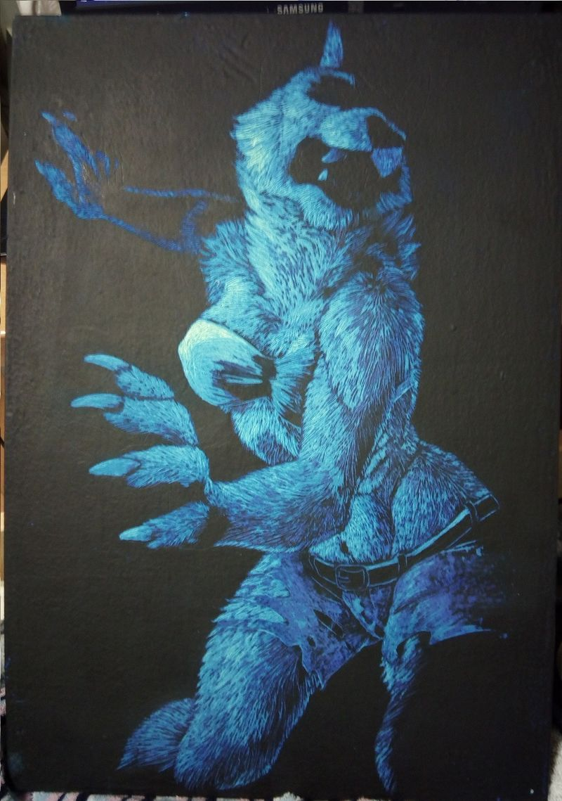 scratchboard commission artwork wolf anthropomorphic furry blue female Blue beauty shows hints of fire