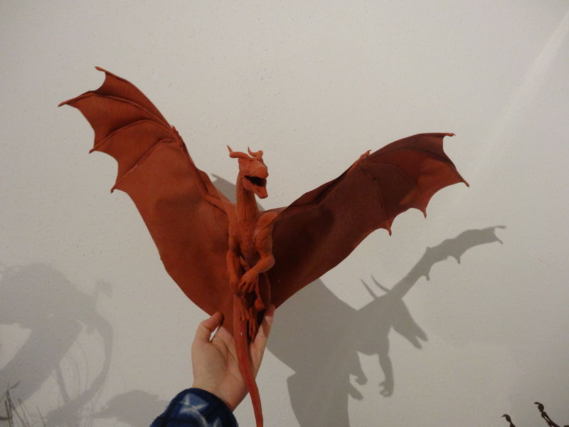 sculpture commission artwork dragon furry companion balanced  He just grown a lot bigger