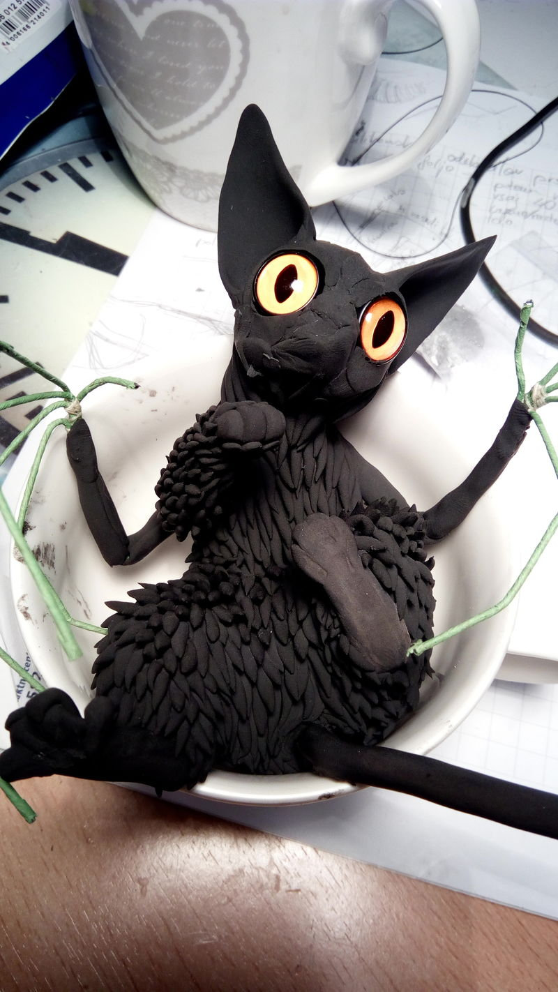 batkitty sculpture art cat bat ef24 eurofurence I really don't like that fur