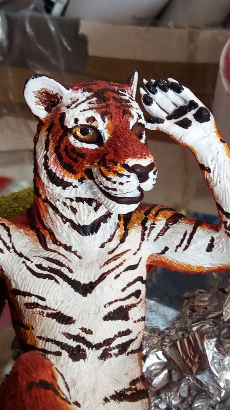 tiger glass resin sculpture art animal anthropomorphic furry pool water  ef24 beautiful stripes!