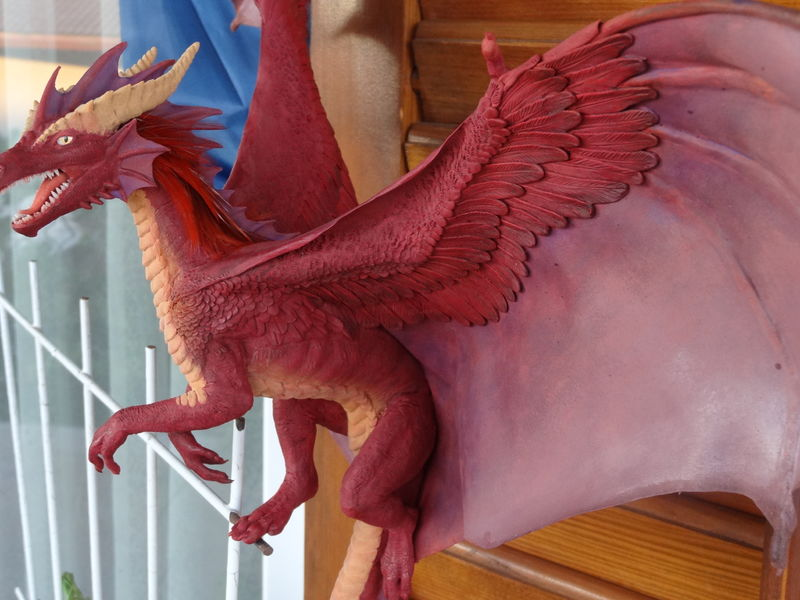 sculpture commission artwork dragon furry companion balanced  Adding the stripes