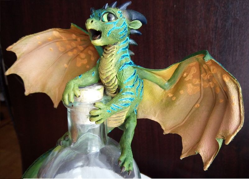 sculpture artwork dragon baby elixir bottle eurofurence 23 tinydragons almost done!