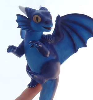 sculpture commission dragon blue baby hatchling balanced companion  furry Killercod