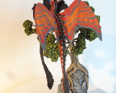 sculpture commission artwork dragon dragons pair love lovers mates tree base black red female male balanced companion