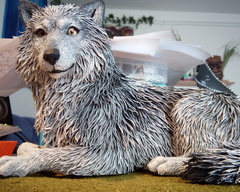 sculpture commission artwork wolf traditional fur art